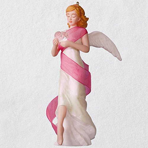 Hallmark Keepsake Christmas Ornament 2018 Year Dated, Breast Cancer Awareness, Angel of Courage Supporting Susan G. Komen, Porcelain, Komen Angel