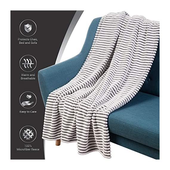 GREEN ORANGE Fleece Throw Blanket for Couch – 50x60, Lightweight, Black and White – Soft, Plush, Fluffy, Warm, Cozy – Perfect for Bed, Sofa - HIGH-QUALITY: Our fleece blankets are made of premium-grade materials CERTIFIED by OEKO-TEX, BSCI, SEDEX, SQP, and WCA. A perfect combination of 250 GSM microfiber polyester and an innovative shedding technique makes this blanket comfortable and durable. In addition, all our blankets and throws undergo unique anti-pilling processing that makes them look even better. 100% HYPOALLERGENIC: Our microplush ribbed blankets are lightweight and breathable They are almost as soft and warm as wool blanket, which makes them a great alternative for people with sensitive skin. PERFECT FOR ALL-SEASONS: Our line design blankets are both warming and breathable. They will warm you up in winter and chilly summer nights. Hence, they are perfect for year-round comfort. - blankets-throws, bedroom-sheets-comforters, bedroom - 518IEe9zxKL. SS570  -