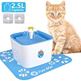Cheap Pet Fountain Cat Fountain Dog Cat Water Dispenser 2.5L Cat Water Fountain Automatic Drinking Water Bowl with 2 Replacement Filters 1 Free Mat Fountain for Cats Dogs Birds Small Animals