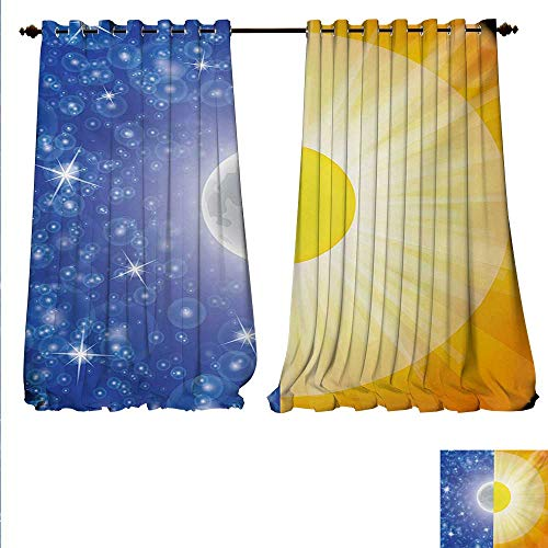 familytaste Decor Curtains by Split Design with Stars in The Sky and Sun Beams Solar Balance Nature Image Print Patterned Drape for Glass Door W108 x L84 Blue Yellow.jpg