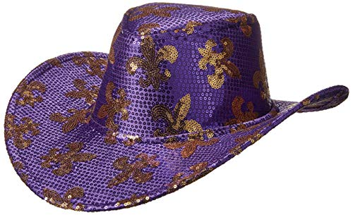 Sequin Mardi Gras Cowboy Hat -