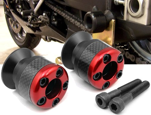 red CNC Aluminum Carbon Fiber Swing Arm Spool Sliders Protector Fit For Honda CBR 600 F2 F3 F4 F4i 1991-2007 - Fiber Swing Arm
