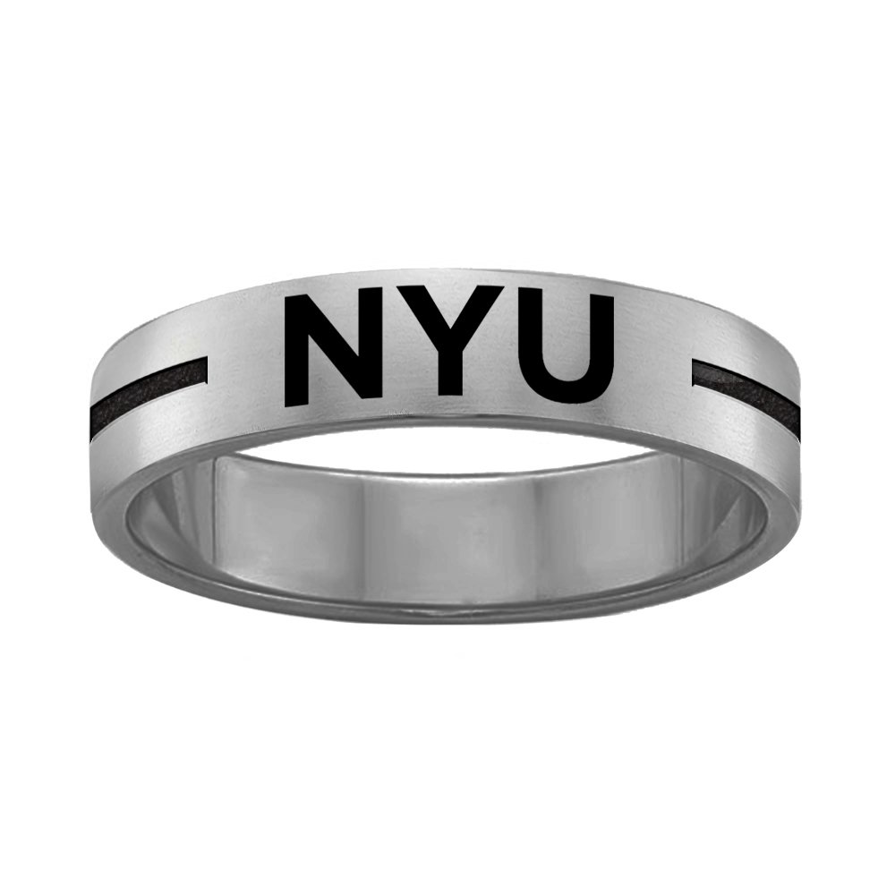 College Jewelry Quad Logo New York Violets Rings Stainless Steel 8MM Wide Ring Band