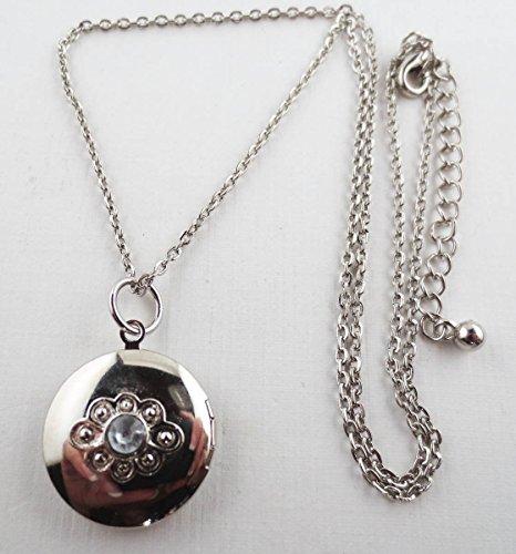 Etched Round Locket - Silvertone Crystal Rhinestone Etched Heart Design Round Locket Pendant Necklace