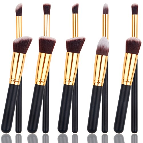 8pcs Makeup Brushes Powder Foundation Eyeshadow Blush Contour Brush Set (Gold) - 7