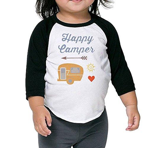 Golden Tiger Uniform (Happy Camper Unisex Kids 3/4 Sleeves Raglan T Shirts Child Youth Fit Sports Uniforms)