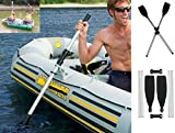 2 Canoe Paddles Oars Kayak Detachable Afloat - Durable Have fun safety Confident Silver+Black size 82'' New