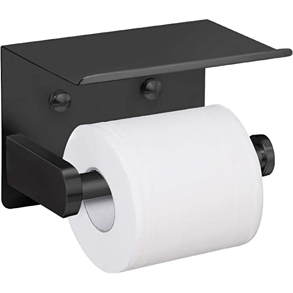 SAFETY+BEAUTY Stainless Steel Toilet Paper Holder for Mega Roll with Cell Phone Shelf Brushed Gold, Double