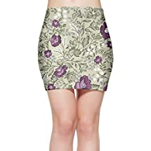 Women's Sexy Stretch Simple Vintage Floral Gallery Pencil Mini Skirt Bodycon Spring Summer