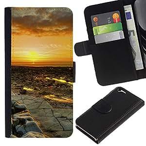 NEECELL GIFT forCITY // Billetera de cuero Caso Cubierta de protección Carcasa / Leather Wallet Case for Apple Iphone 6 // Puesta del sol del desierto Paisaje