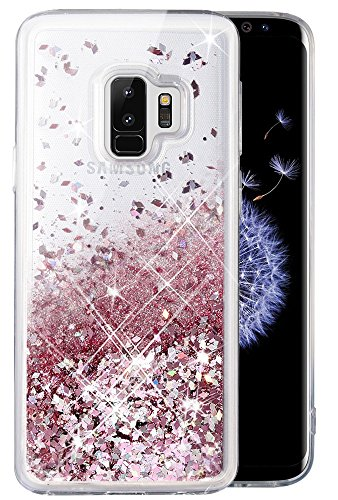 Caka Galaxy S9 Plus Case, Galaxy S9 Plus Glitter Case Bling Flowing Floating Luxury Glitter Sparkle TPU Bumper Liquid Case for Samsung Galaxy S9 Plus - (Rose gold)