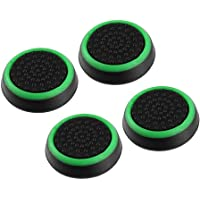 4pcs Silicone Anti-slip Striped Gamepad Keycap Controller Thumb Grips Protective Cover for PS3/4 for X box One/360 black & green