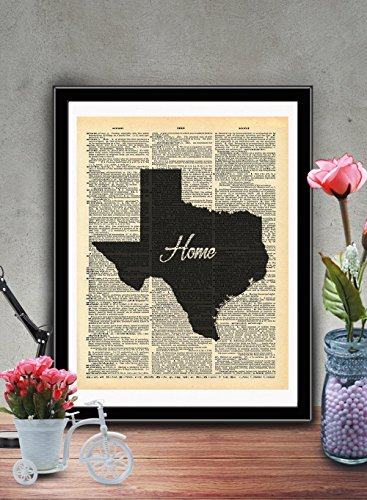 Texas State Vintage Map Vintage Dictionary Print 8x10 inch Home Vintage Art Abstract Prints Wall Art for Home Decor Wall Decorations For Living Room Bedroom Office Ready-to-Frame Home