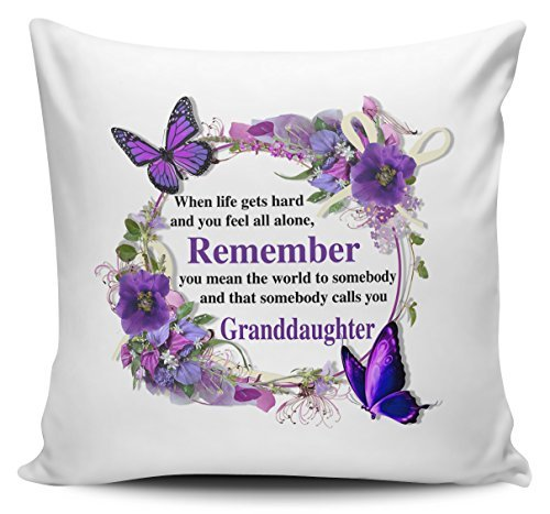 OneMtoss Decorative Pillow Cover That Somebody Calls You Granddaughter Floral Novelty Cushion Cover Pillow Case 22X22 ()