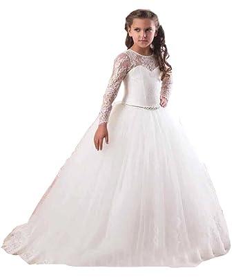Amazon.com: FashionStreets Girls First Communion Dress Long ...
