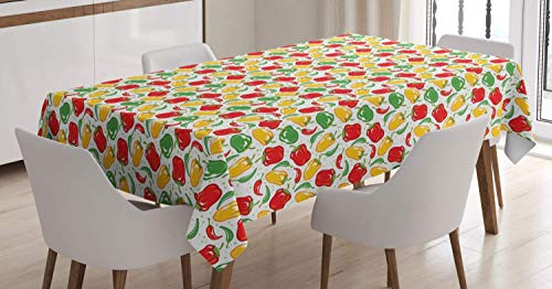 rfy9u7 Peppers Tablecloth, Colorful Illustration of Paprika Pods with Polka Dots on The Background Dining Table Cloth for Holiday Decor (Dining Pod Table)