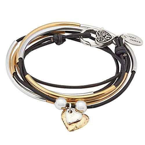 Lizzy James Girlfriend Silver Wrap Charm Bracelet Necklace w Gold Silver Heart Charms in Natural Black Leather - Bracelet Gold James