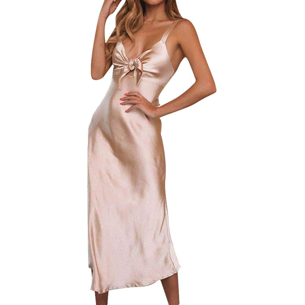 Women's Sexy V Neck Spaghetti Maxi Dress Sleeveless Cocktail Bow Bandage Formal Party Dresses Pink