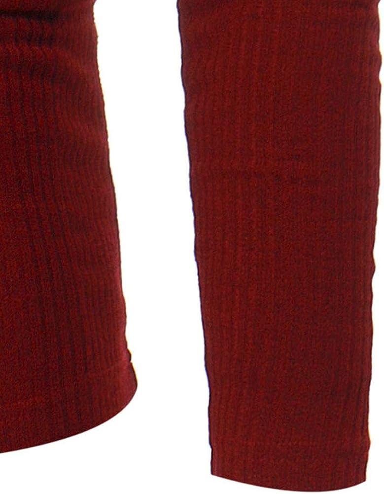 SLYZ Maglietta Casual con Scollo A V A Righe Verticali A Maniche Lunghe A Righe Sottili da Uomo Autunno Nuovo Stile