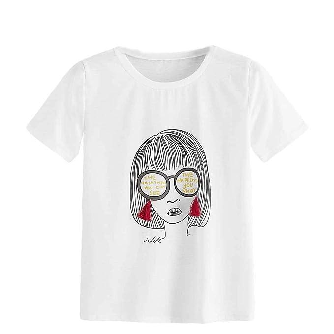 Vectry Camisetas de Manga Corta Mujer Blusas de Mujer Elegantes Verano Camisetas Mujer Casual Verano Camiseta Chica Verano Blusas de Mujer de Moda 2019 ...