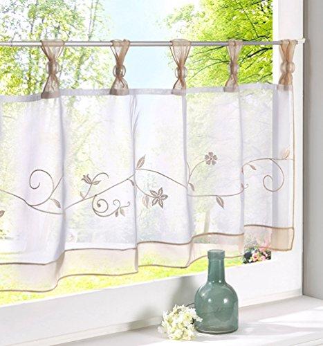 - ZebraSmile Embroidered Window Tier Curtain Tier Semi Sheer Curtain Window Treatment Tab Top Voile Window Curtain Tier Half Window Curtains for Kitchen Bathroom Living Room Cafe Curtain 24X47.5In