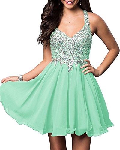 Prom Dresses Dresses Beaded Cocktail Party Neck BD093 Mint Chiffon V Short BessDress t6q4wU11