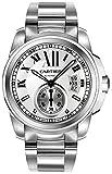 Jewelry : Cartier Men's W7100015 Calibre de Cartier Silver-Tone Stainless Steel Opaline Dial Watch