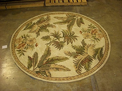 KAS Oriental Rugs Sparta Collection Tropical Oasis Round Area Rug, 5' x 6