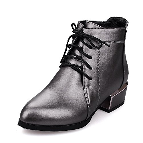 AllhqFashion Damen Schnüren Niedriger Absatz Niedrig-Spitze Stiefel mit Metallisch, Grau, 33
