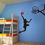 Vinyl Basketball Wall Decal Basketball Action Wall Decor Dunking ball into the Net - Vinyl Wall Art Sticker Wall Graphic Home Wall Design 1(player,basketball hoop:Black;basketball:Tomato Red)