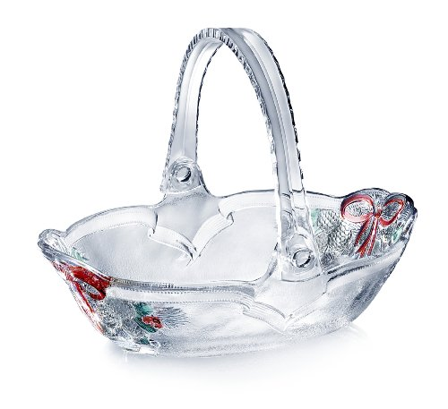 - Celebrations by Mikasa Holiday Bells Crystal Basket, 7.75-Inch