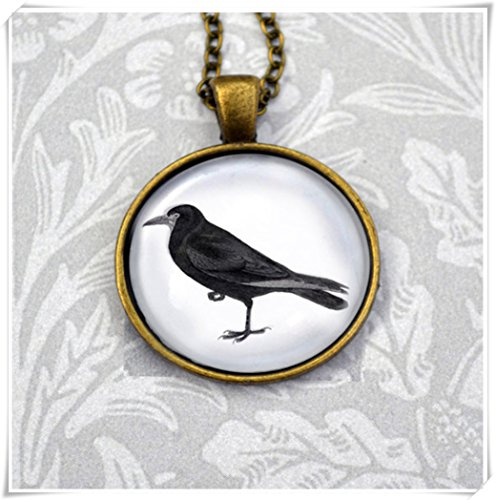 Magical magnet Crow/Blackbird Vintage Victorian spooky Gothic illustration in antique ()