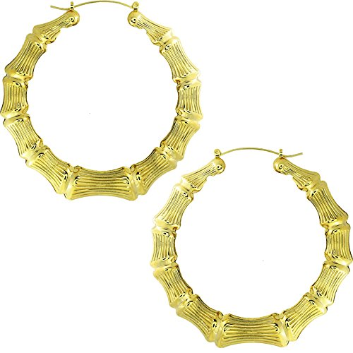 Gold Plated Hollow Casting Round Bamboo Hoop Earrings, 3.00 inches (Bamboo Gold Plated Earrings)