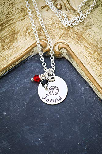 Personalized Basketball Necklace – DII ABC - Team Gift – Coach Thank You – Handstamped Handmade – 5/8in, 15MM Disc – Custom Name – Choose School Colors – Fast 1 Day Shipping