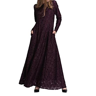 Pingtr Muslim Abaya Dubai Kleider für Frauen Islamischen Kleid ...