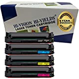 HI-VISION HI-YIELDS Compatible CF510A CF511A CF512A CF513A Laserjet toner cartridge HP204A Toner Cartridge Standard Yield Black 1100 pages Color 900 pages for HP LaserJet Pro MFP M180nw M154nw (4Pack)