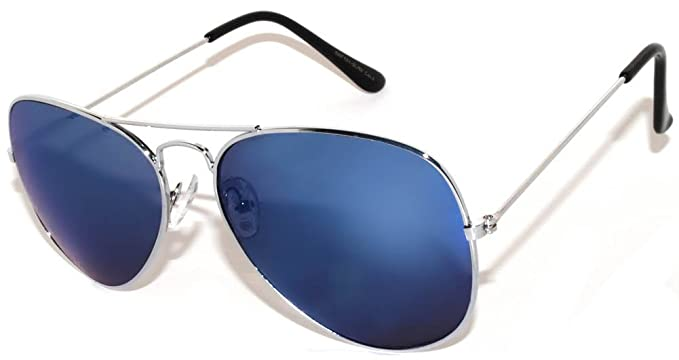 270c6e30c Image Unavailable. Image not available for. Color: OWL Aviator Sunglasses  Vintage Silver Metal Frame Blue Mirror Lenses (One ...