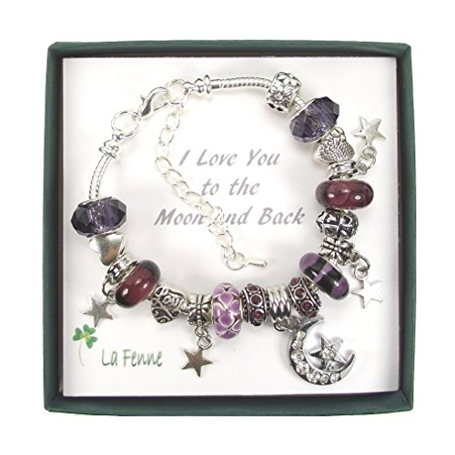 LaFenne Story I Love You to The Moon and Back Crystal Glass Bead Charm Bracelet Gift Silver Plated Snake Chain