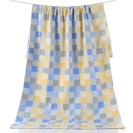 Dreamingces-Toallas De Baño La Cuadrícula De Color Azul Gris70*140 Ultra Suave Y
