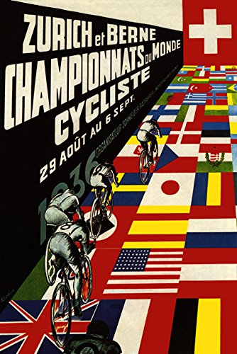 CYCLING WORLD CHAMPIONSHIPS 1936 ZURICH ET BERNE BICYCLE RACING BIKE FLAGS 12