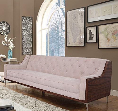 (Iconic Home Clark Modern Contemporary Cream Velvet Tufted Swoop Arm Sofa with Walnut Finish Silvertone Chrome Legs)