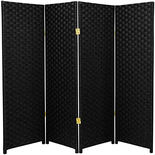 Natural Plant Fiber Woven Room Decor Black 4 Panels Divider by Oriental Furniture Panels Divider