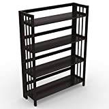 "Stony-Edge Low Assembly Folding Bookcase, 4 Shelves, Media Cabinet Storage Unit, for Home & Office, Quality Furniture. Espresso Color. 32"" Wide. For Sale"