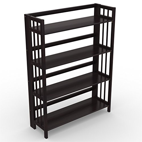"Stony-Edge Low Assembly Folding Bookcase, 4 Shelves, Media Cabinet Storage Unit, for Home & Office, Quality Furniture. Espresso Color. 32"" Wide."