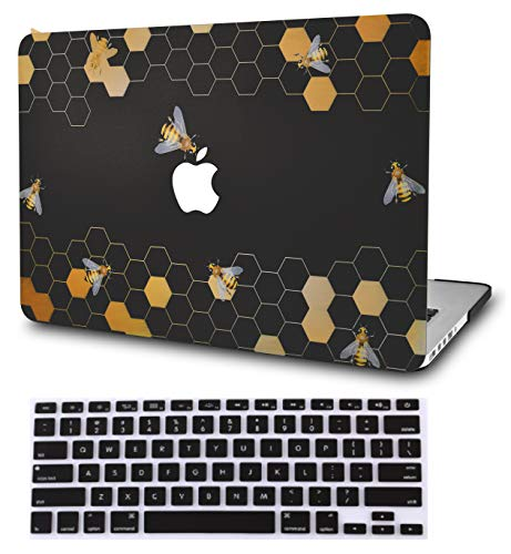 """KECC Laptop Case for MacBook Air 13"""" w/Keyboard Cover Plastic Hard Shell Case A1466/A1369 2 in 1 Bundle (Black Bees)"""