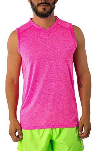 Men's Dri Fit Moisture Wicking Quick Dry UPF 40 UV Sun Protection Sport Athletic Performance Sleevless Muscle Shirt Tank Top (Medium, Hot Pink) by Exist