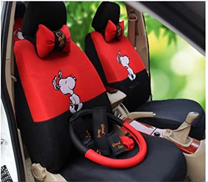18pcs Black Red Snoopy Universal Car Seat Covers Front Driver Steering Wheel Neckrest Cushion Cartoon