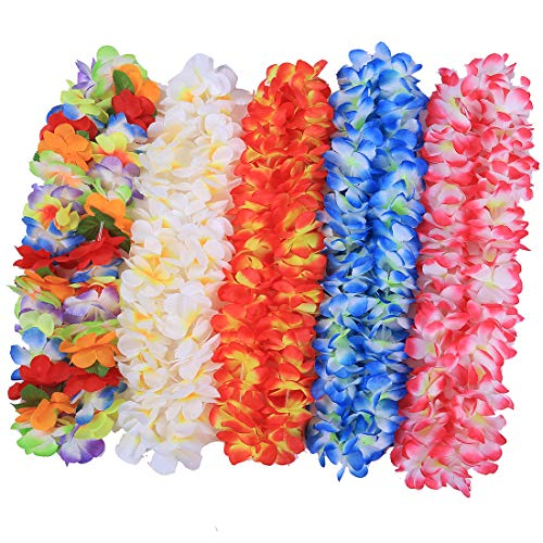 JSSHI Pack of 5 Ruffled Hawaiian Simulated Silk Flower Hula Luau Party Leis Necklace Accessories Holiday Wedding Birthday Decorations Island Beach Party Christmas (5pcs Assorted Color Necklace)]()