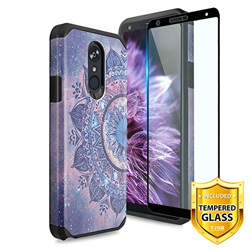 TJS LG Stylo 4 2018 / LG Stylo 4 Plus/LG Q Stylus Case [Full Coverage Tempered Glass Screen Protector] Ultra Thin Slim Hybrid Shockproof Protection Impact Rugged Phone Case Armor (Mandala)