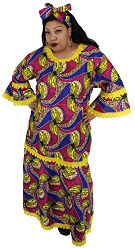 African Inspired Dresses (African Planet Women's Long Maxi Dress Nigerian Inspired Lace with Headwrap (Blue and Yellow))